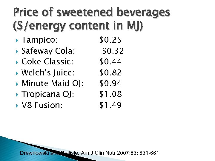 Price of sweetened beverages ($/energy content in MJ) Tampico: Safeway Cola: Coke Classic: Welch's