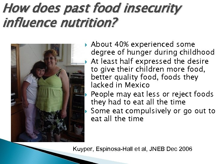 How does past food insecurity influence nutrition? About 40% experienced some degree of hunger