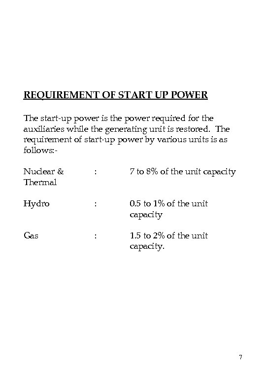 REQUIREMENT OF START UP POWER The start-up power is the power required for the