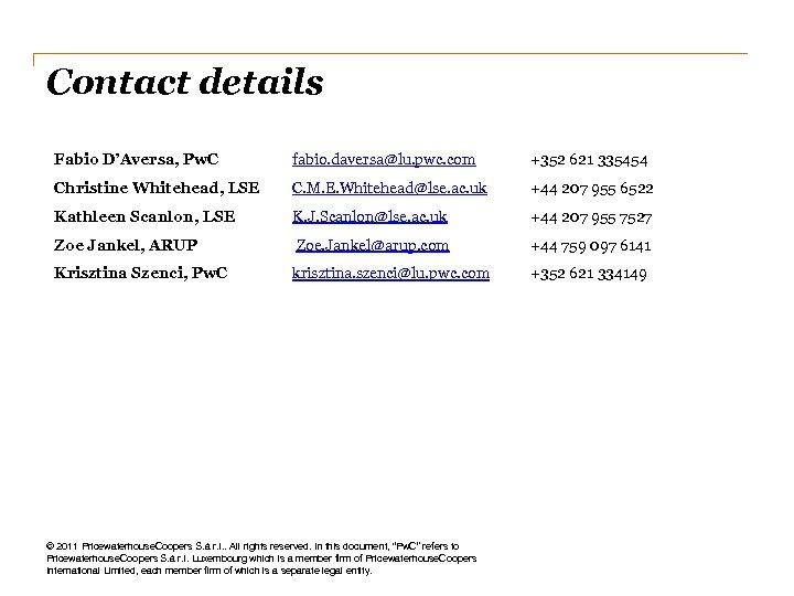Contact details Fabio D'Aversa, Pw. C fabio. daversa@lu. pwc. com +352 621 335454 Christine
