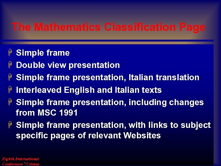 The Mathematics Classification Page H H H Simple frame Double view presentation Simple frame