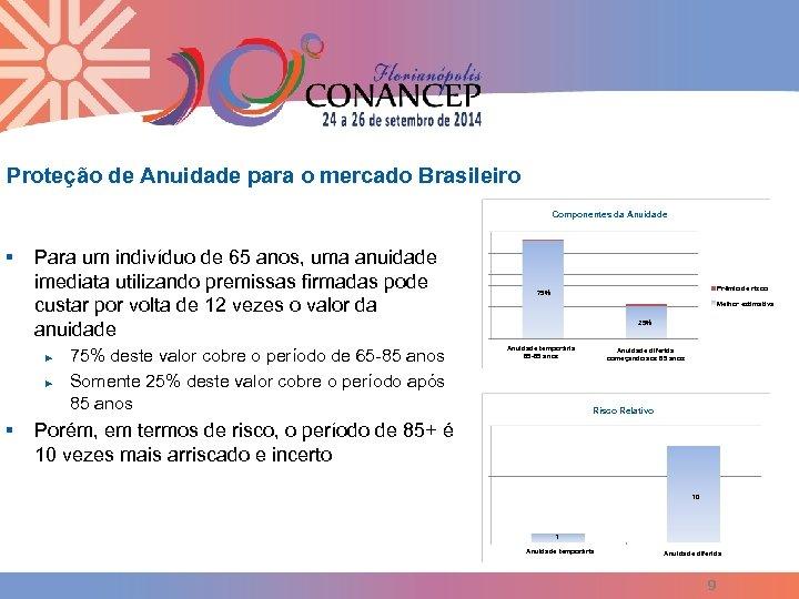 Proteção de Anuidade para o mercado Brasileiro Componentes da Anuidade § Para um indivíduo
