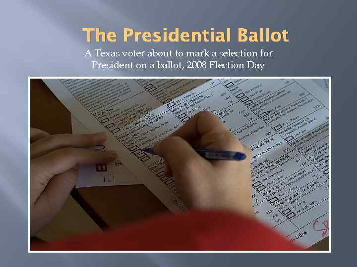 The Presidential Ballot A Texas voter about to mark a selection for President on