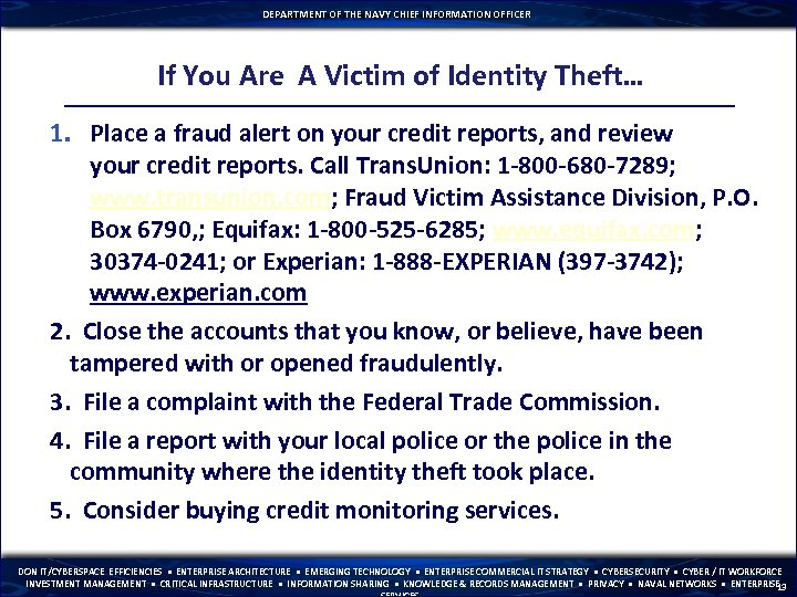DEPARTMENT OF THE NAVY CHIEF INFORMATION OFFICER If You Are A Victim of Identity