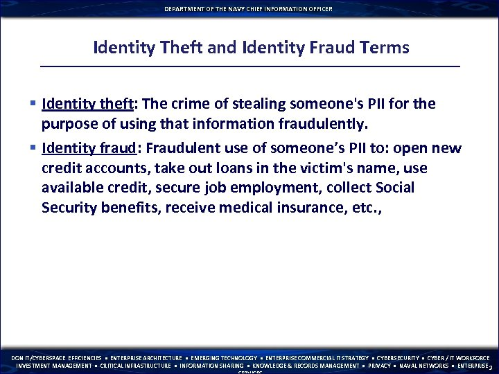 DEPARTMENT OF THE NAVY CHIEF INFORMATION OFFICER Identity Theft and Identity Fraud Terms §