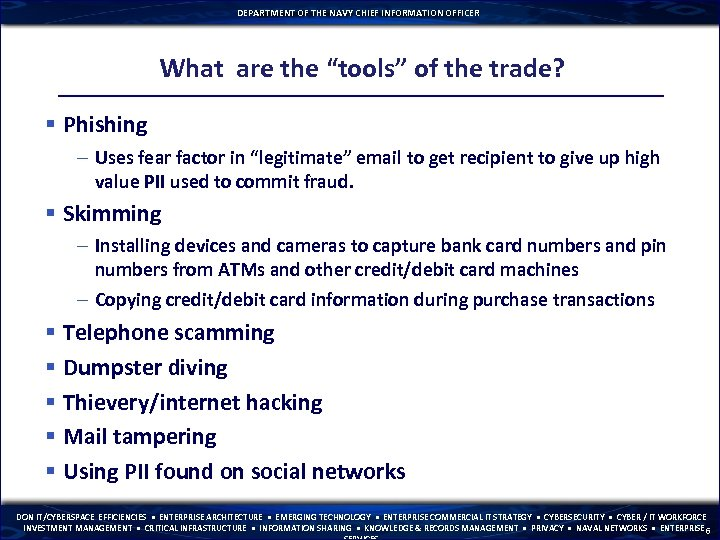 """DEPARTMENT OF THE NAVY CHIEF INFORMATION OFFICER What are the """"tools"""" of the trade?"""