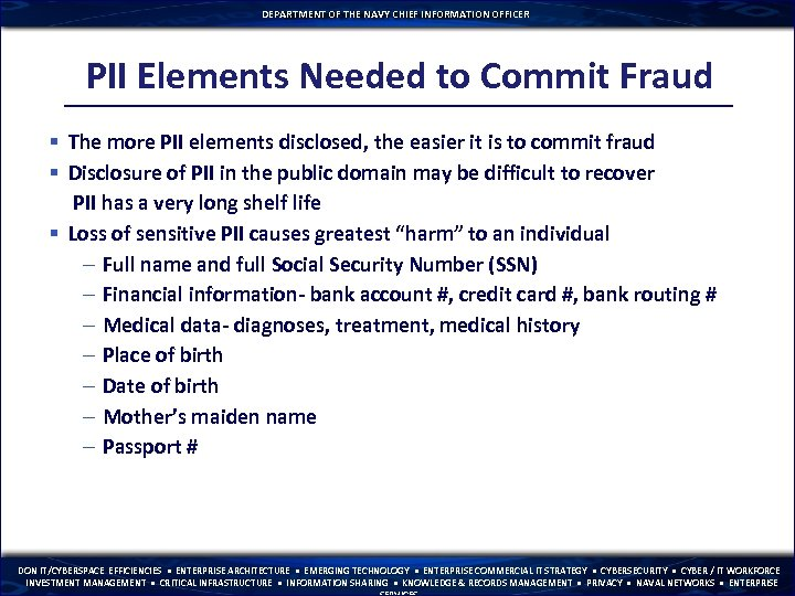 DEPARTMENT OF THE NAVY CHIEF INFORMATION OFFICER PII Elements Needed to Commit Fraud §