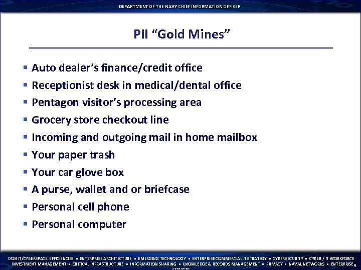 "DEPARTMENT OF THE NAVY CHIEF INFORMATION OFFICER PII ""Gold Mines"" § Auto dealer's finance/credit"