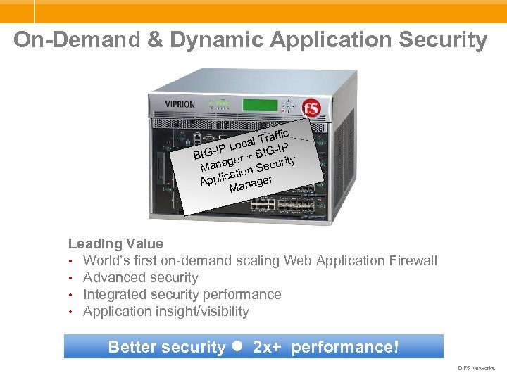 On-Demand & Dynamic Application Security fic l Traf Loca G-IP r + BIG-IP BI