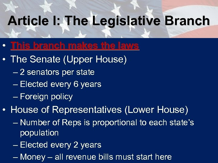Article I: The Legislative Branch • This branch makes the laws • The Senate