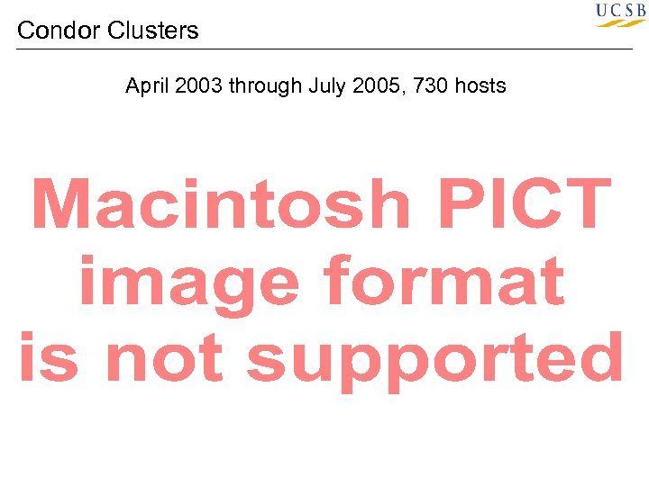 Condor Clusters April 2003 through July 2005, 730 hosts