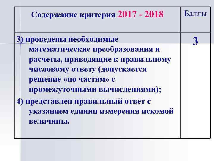 Содержание критерия 2017 - 2018 3) проведены необходимые математические преобразования и расчеты, приводящие к