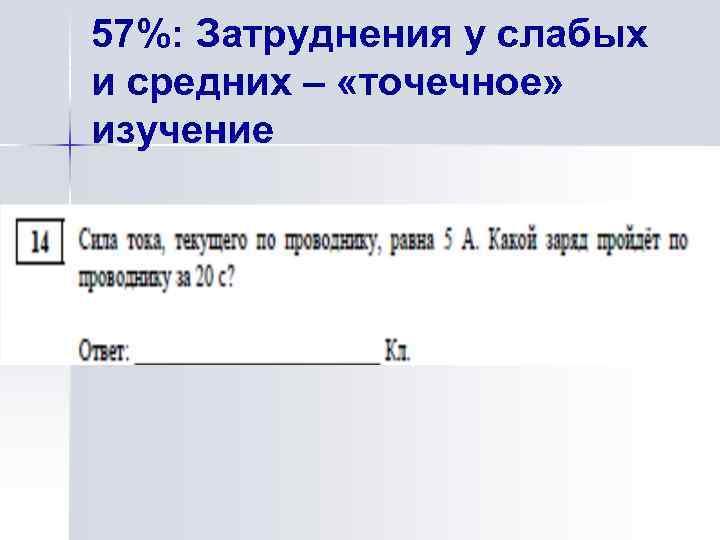 57%: Затруднения у слабых и средних – «точечное» изучение