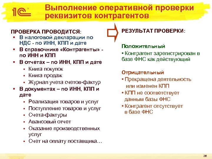 Выполнение оперативной проверки реквизитов контрагентов ПРОВЕРКА ПРОВОДИТСЯ: § В налоговой декларации по НДС -