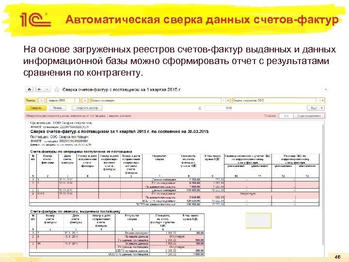 Автоматическая сверка данных счетов-фактур На основе загруженных реестров счетов-фактур выданных информационной базы можно сформировать
