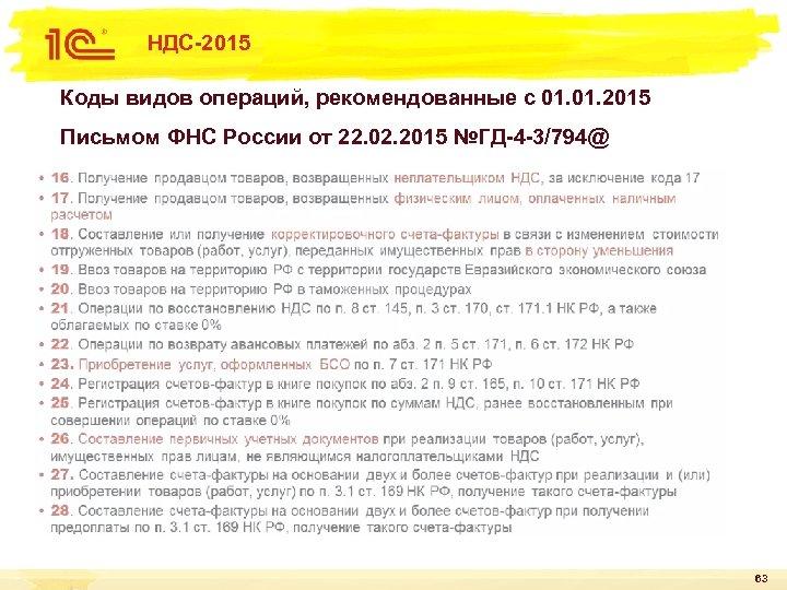 НДС-2015 Коды видов операций, рекомендованные с 01. 2015 Письмом ФНС России от 22. 02.