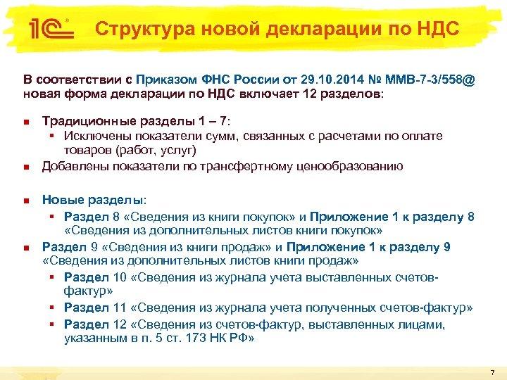 Структура новой декларации по НДС В соответствии с Приказом ФНС России от 29. 10.