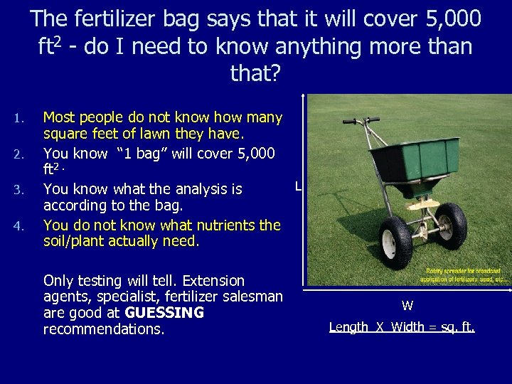 The fertilizer bag says that it will cover 5, 000 ft 2 - do