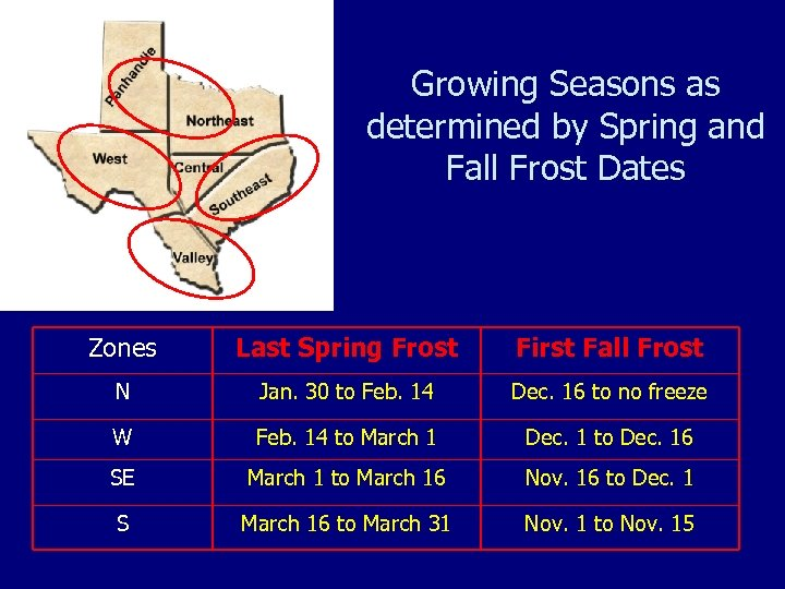 Growing Seasons as determined by Spring and Fall Frost Dates Zones Last Spring Frost