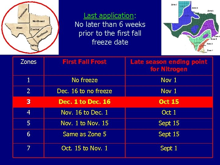 Last application: No later than 6 weeks prior to the first fall freeze date