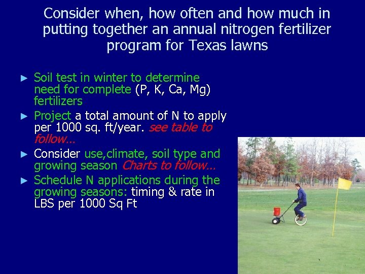 Consider when, how often and how much in putting together an annual nitrogen fertilizer