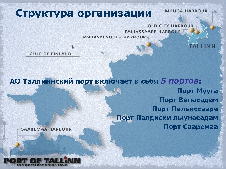 Структура организации АО Таллиннский порт включает в себя 5 портов: Порт Мууга Порт Ванасадам