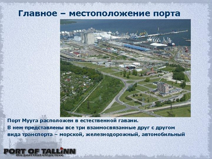 Главное – местоположение порта Порт Мууга расположен в естественной гавани. В нем представлены все