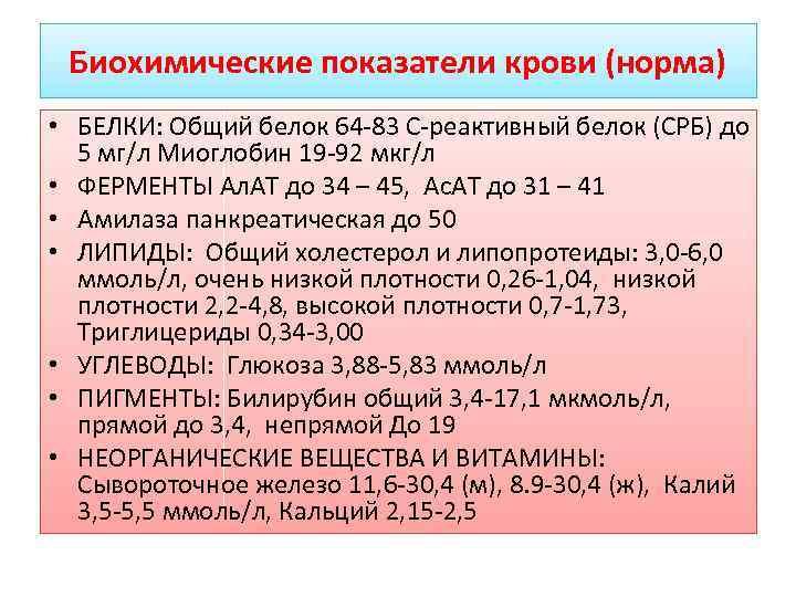 Биохимические показатели крови (норма) • БЕЛКИ: Общий белок 64 83 С реактивный белок (СРБ)