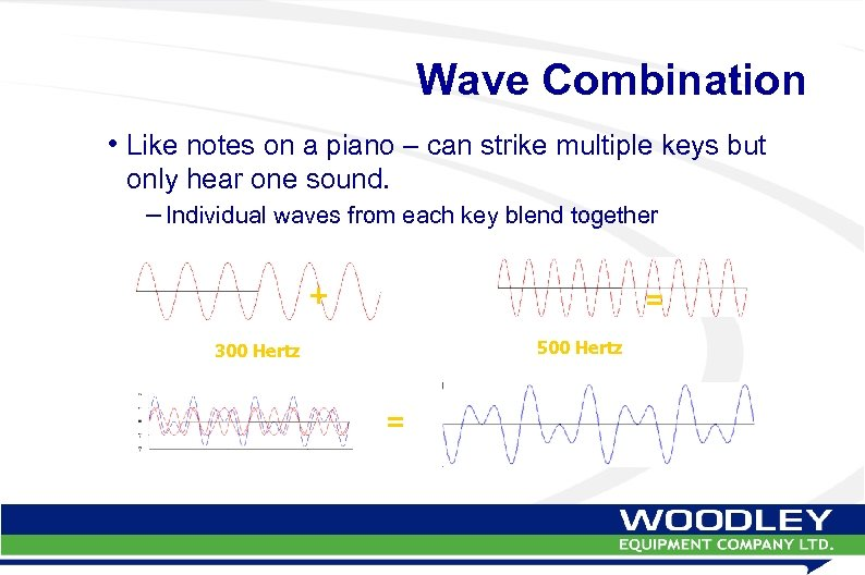 Wave Combination • Like notes on a piano – can strike multiple keys but