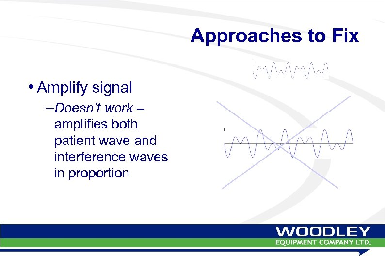 Approaches to Fix • Amplify signal –Doesn't work – amplifies both patient wave and