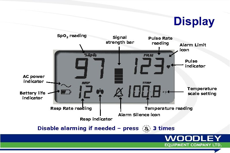 Display Sp. O 2 reading Signal strength bar Pulse Rate reading Alarm Limit icon