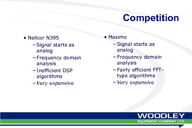 Competition • Nellcor N 395 – Signal starts as analog – Frequency domain analysis
