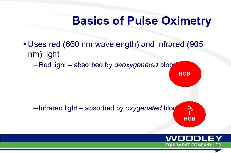 Basics of Pulse Oximetry • Uses red (660 nm wavelength) and infrared (905 nm)