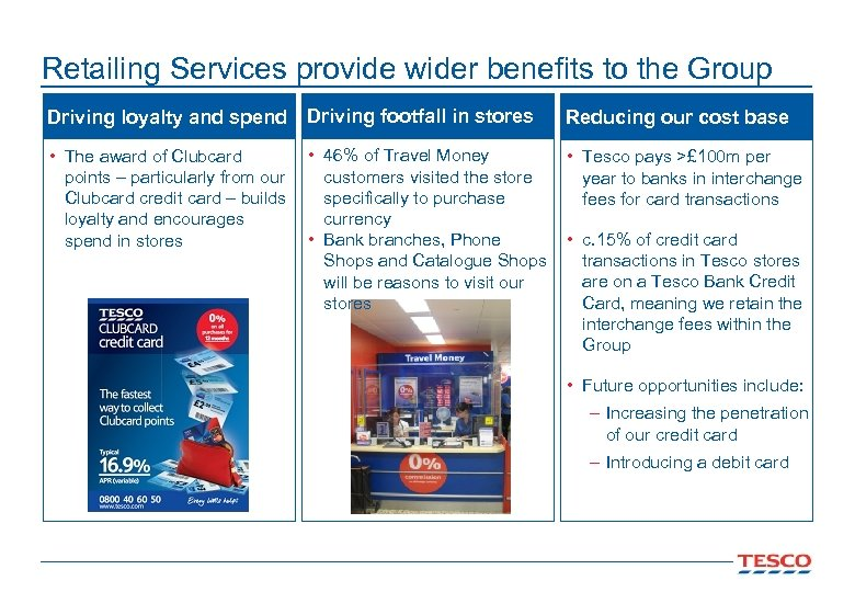 Retailing Services provide wider benefits to the Group Driving loyalty and spend Driving footfall