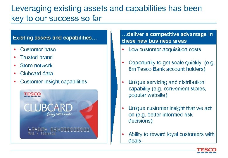Leveraging existing assets and capabilities has been key to our success so far Existing