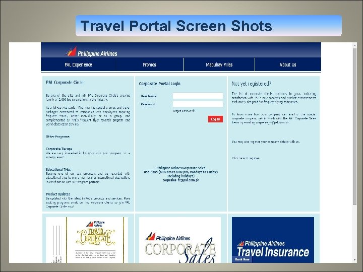 Travel Portal Screen Shots 1. 9% discount for economy class reservation 2. 10% discount