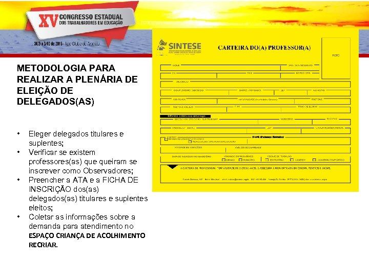 METODOLOGIA PARA REALIZAR A PLENÁRIA DE ELEIÇÃO DE DELEGADOS(AS) • • Eleger delegados titulares