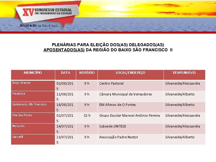 PLENÁRIAS PARA ELEIÇÃO DOS(AS) DELEGADOS(AS) APOSENTADOS(AS) DA REGIÃO DO BAIXO SÃO FRANCISCO II MUNICÍPIO