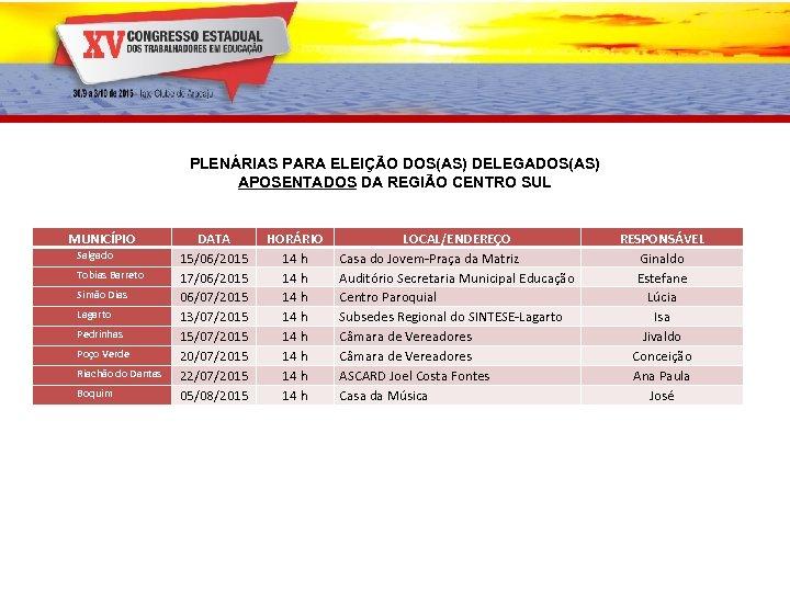 PLENÁRIAS PARA ELEIÇÃO DOS(AS) DELEGADOS(AS) APOSENTADOS DA REGIÃO CENTRO SUL MUNICÍPIO Salgado Tobias Barreto