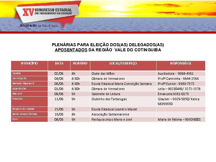 PLENÁRIAS PARA ELEIÇÃO DOS(AS) DELEGADOS(AS) APOSENTADOS DA REGIÃO VALE DO COTINGUIBA MUNICÍPIO Capela Carmópolis