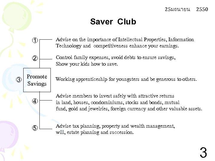 25มถนายน 2550 Saver Club 1 2 3 Advise on the importance of Intellectual Properties,