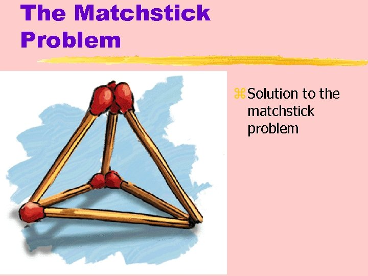 The Matchstick Problem z Solution to the matchstick problem