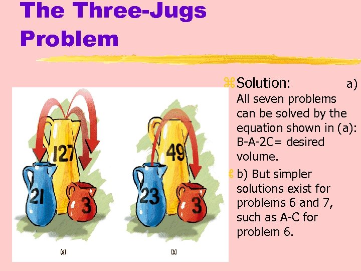 The Three-Jugs Problem z Solution: a) All seven problems can be solved by the