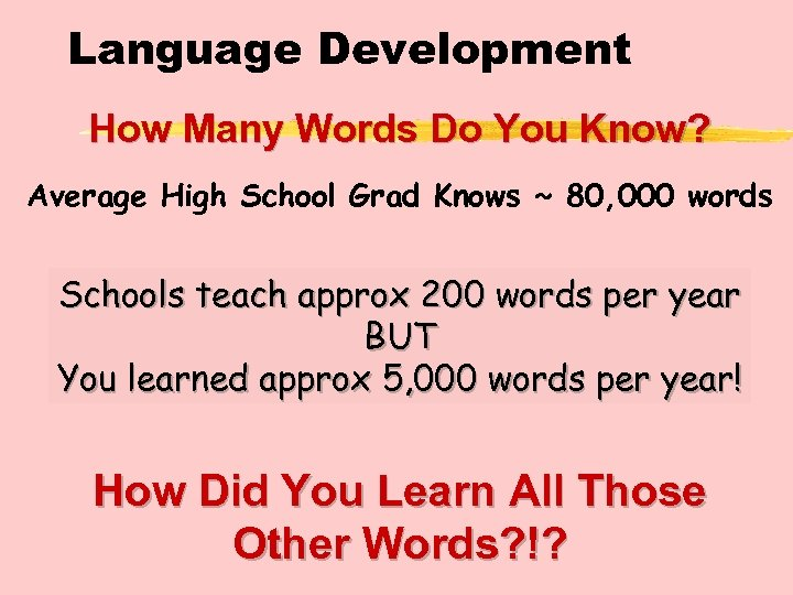 Language Development How Many Words Do You Know? Average High School Grad Knows ~
