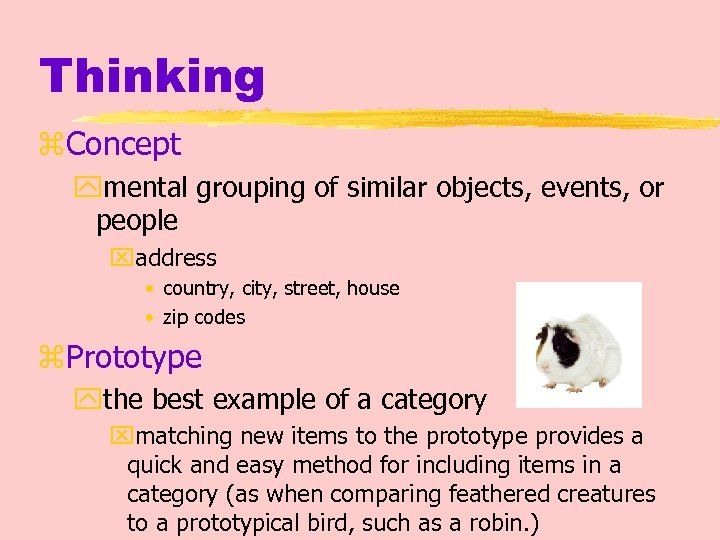Thinking z. Concept ymental grouping of similar objects, events, or people xaddress • country,