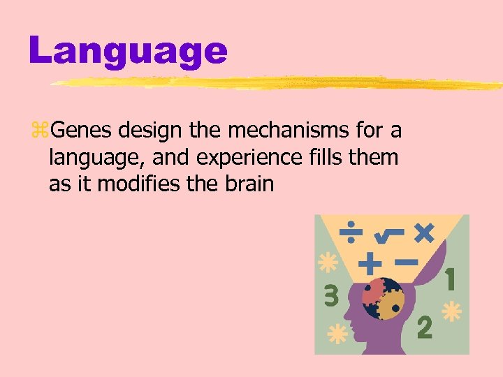 Language z. Genes design the mechanisms for a language, and experience fills them as