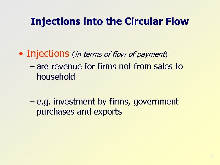 Injections into the Circular Flow • Injections (in terms of flow of payment) –