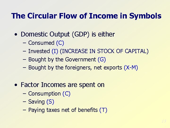The Circular Flow of Income in Symbols • Domestic Output (GDP) is either –