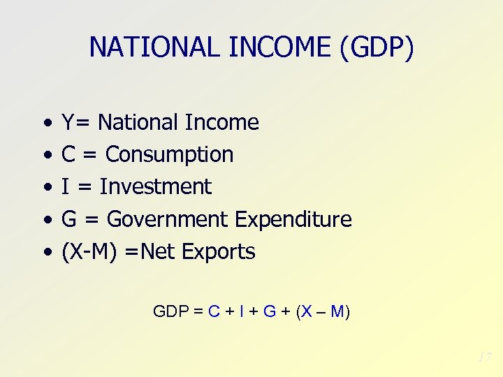 NATIONAL INCOME (GDP) • • • Y= National Income C = Consumption I =