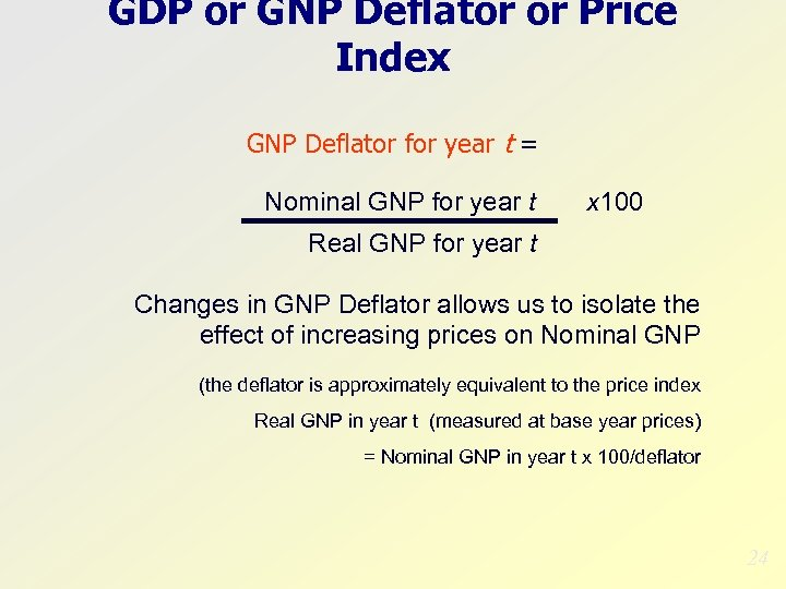 GDP or GNP Deflator or Price Index GNP Deflator for year t = Nominal